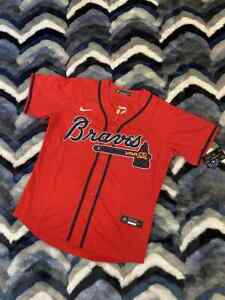 Ronald Acuna JR Atlanta Braves Jersey #13 In Red Blue Fast Shipping IN HAND