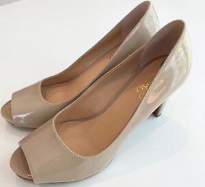 FRANCO SARTO Size 8 M Beige Patent Peep Toe Pumps Shoes New