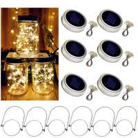 Solar Powered Mason Jar Lid Light 20 LED Fairy String Lights Xmas Garden Decor