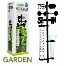NEW OUTDOOR WEATHER STATION GARDEN LAD WIND SPINNER THERMOMETER RAINFALL VASE