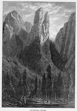The Yosemite> California   CATHEDRAL SPIRES  by J.Smillie   Sierra Nevada 1873