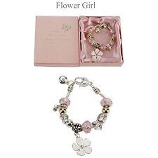 Amore Silver/Pink Bead Charm Bracelet - Flower Girl
