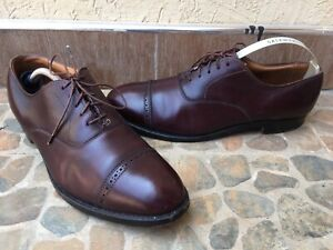 Alden 905 burgundy perforated straight tip leather men's oxford size 9.5 B/D / U