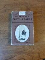 Vtg Deck Boulevard Playing Cards w Box Garden & People Scene 2 Jokers Whitman