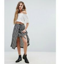 Free People $128 Love Train Wrap Skirt Over Shorts Black Combo Size 6