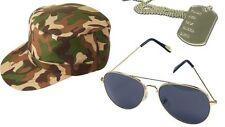 ARMY CAP & AVIATOR GLASSES & DOG TAG SET Ladies Fancy Dress Soldier G.I Jane Hat