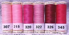 6 Pink colors GUTERMANN 100% polyester sew-all thread 110 yard Spools