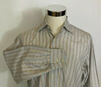 Luciano Barbera Men's Multi-Color Striped Spread Collar Dress Shirt 39 15.5