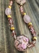 Vtg Pretty In Pink Art Glass Faceted Crystal Beaded Flowers Necklace Gold Bead