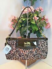 Coach Madison Ocelot Op Art Large Wristlet Bag 45951 Brown Cheetah Sateen W25