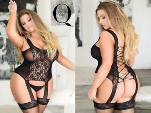 Plus size Women's Lace-Up Back Fishnet Bodystocking Attached Garter Tights 209Q