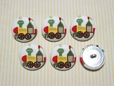 6 Yellow Steam Train Fabric Covered Buttons - 30mm