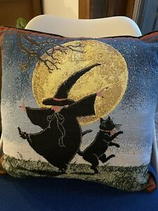 """VTG needlepoint Tapestry pillow Halloween Fun Dancing Witch & Black Cat 16x16"""""""