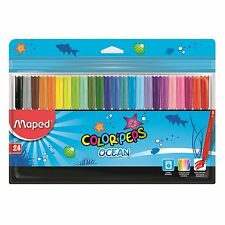 Maped Ocean 24 Pack Felt Tip Colouring Markers Color'peps Washable Medium Pens