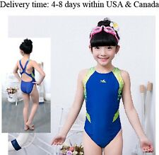 One piece racing & training swimsuit for girls Yingfa 946 Blue girl's size 4-6