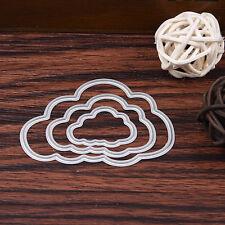 3stk Wolken Stencil Cutting Dies DIY Scrapbooking Karte Tagebuch Stanzschablone