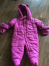 PLC The Children's Place ONE-PIECE PUFFY SnowSuit Bunting GIRL 0-3 M FUSCHIA NWT