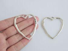 5 x Tibetan Silver Large Open Heart Charms Pendants Jewellery Findings 52mm