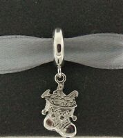 New Endless Santa's Stocking Rhodium Plated Sterling Silver Charm 43442