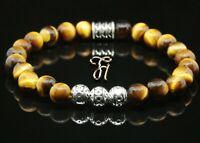 Tigerauge Armband Bracelet Perlenarmband Silber Beads Buddha braun 8mm