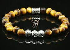 Tiger Eye Bracelet Pearl Bracelet Silver Beads Buddha Braun 0 5/16in