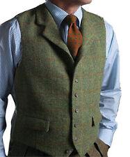Mens Tweed Waistcoat Green Notch Lapel Plaid Vintage Wool Vest Herringbone S-3XL