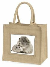 Two Silver Guinea Pigs Large Natural Jute Shopping Bag Christmas Gift , GIN-3BLN