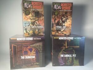 4 Monster Scenes Model Kits : Saber Rabbit,  Feral Cat, The Dungeon, Animal Pit