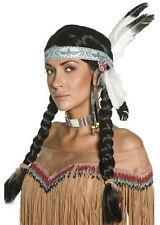 Indianer Flechtzopf Perücke mit Feder-Stirnband NEU - Karneval Fasching Perücke