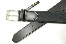 TASSO ELBA GRAY BLACK SMALL 29 31 FLANNEL LEATHER BELT MENS NWT NEW