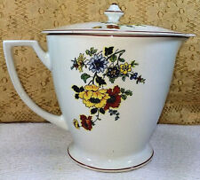 Antique Cleveland China Lidded Poppy Floral Jug Pitcher Rare Red Yellow Orange