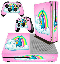 XBOX ONE S SLIM Console Sticker Unicorn Llama Pink Rainbow Fantasy & 2 PAD SKINS