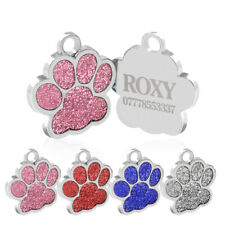 Personalised Pet ID Tags Zinc Alloy 25mm Glitter Bling Paw Print Dog Cat ID Tags