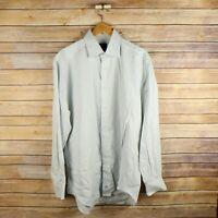 DAVID DONAHUE Men's Long Sleeve Button Front Shirt 16 34/35 Green Blue White