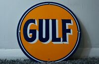 VINTAGE GULF PORCELAIN SIGN GAS MOTOR SERVICE STATION PUMP PLATE OIL RARE AD