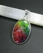 Natural, Multi-Coloured, Druzy Agate Bezel Gemstone Pendant - 925 Stamped