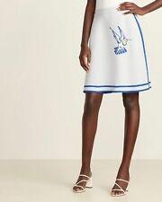 NWT CAROLINA HERRERA Light Blue Hummingbird Dressy A-Line Wool Skirt XL $1290