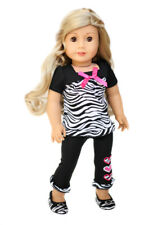 TOP + LEGGINGS + ZEBRA SHOES 3pc Outfit for 18 inch American Girl Doll clothes