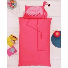 SHAPED FLAMINGO SINGLE DUVET COVER SET 3D BRIGHT TROPICAL CHILDRENS