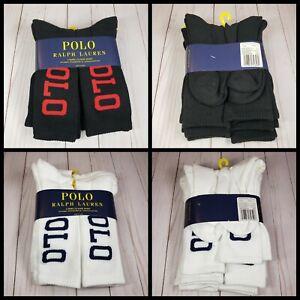 Polo Ralph Lauren Athletic 6-Pair Crew Socks Classic Sport Black Red White Blue