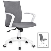 Ergonomic Office Swivel Chair With Wheels&Removable Arms Height Adjustable Gray