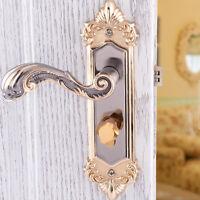 Yellow Bronze Continental Antique Mechanical Locks Set Interior Door Handle Lock