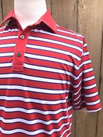 Footjoy Athletic Fit Men's Red/White/Blue Striped Polo Golf Shirt Size Medium