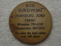 Rare HORNBURG FORD Milwaukee Oconomowoc WOODEN NICKEL WI Wisconsin INDIAN CHIEF