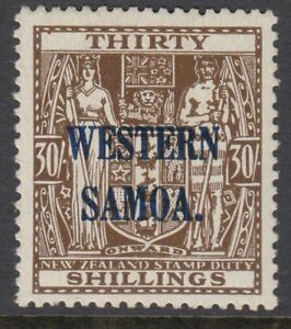 SAMOA : 1948 30/- brown of NZ opt. WESTERN SAMOA SG 211 MNH