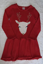 Gymboree Holiday Shop Reindeer Sweater Dress Size 6 Red Long Sleeve EUC