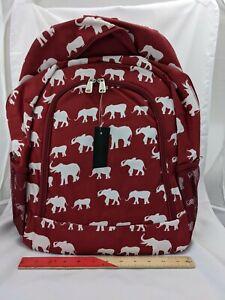 Full Size Crimson Backpack w/ White Elephants Zipper Closure Pockets, Adjustable
