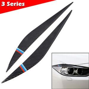 Real Carbon Fiber Headlight Eyebrow Trim Decor Covers For BMW 3 4 Series F30 F34