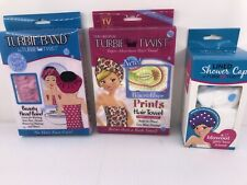 Turbie Band No Hair Face Care+Turbie Twist Hair Towel*Lined Shower Cap Reversibl