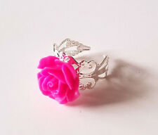 Hot Pink Rose Flower Silver Filigree Ring - Vintage Style - Beautiful